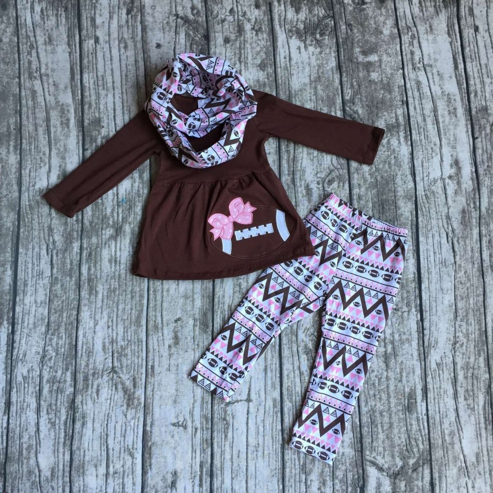 2016 new free shipping FALL/Winter baby girls OUTFITS 3 pieces scarf brown football top bow Aztec pant boutique clothes sets(China (Mainland))