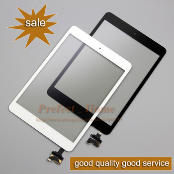 Brand New Digitizer Touch Screen with IC Connector & HOME FLEX Assembly black and withe for iPad mini 1 and mini 2