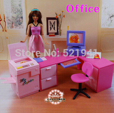 Free Shipping, DIY office computer desk combination copier for barbie doll,doll furniture doll accessories for barbie,girls gift(China (Mainland))