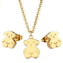 Sales Promotion Bridal Wedding Jewelry Sets For Women Gold Plated Stainless Steel Bear Jewelry Stud Earrings And Necklace Set(China (Mainland))