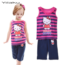 High Quality Hello Kitty Striped Clothing Set Kids Girls Cotton Dog Printed Vest Pyjamas Suit 3 Design Available CF225CF226CF227