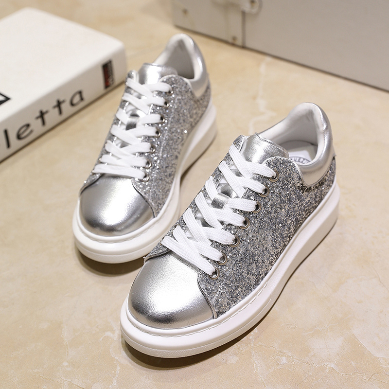 Designer Metal Head Lace-up Women Casual Shoes Pointed Toe Sneakers Fashion Silver/White Sequins Flats #QW001 - Showing Store store