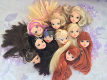 1pcs Excellent Quality Doll Head with Colorized Hair DIY Accessories for  Barbi  Doll Baby DIY Toys 2016 New Style(China (Mainland))