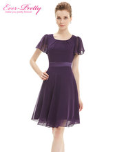 Cocktail Party Dresses Ever Pretty AS03990 Purple Round Neck Chiffon Short Elegant Summer 2017 New Arrival Cocktail Dresses(China (Mainland))