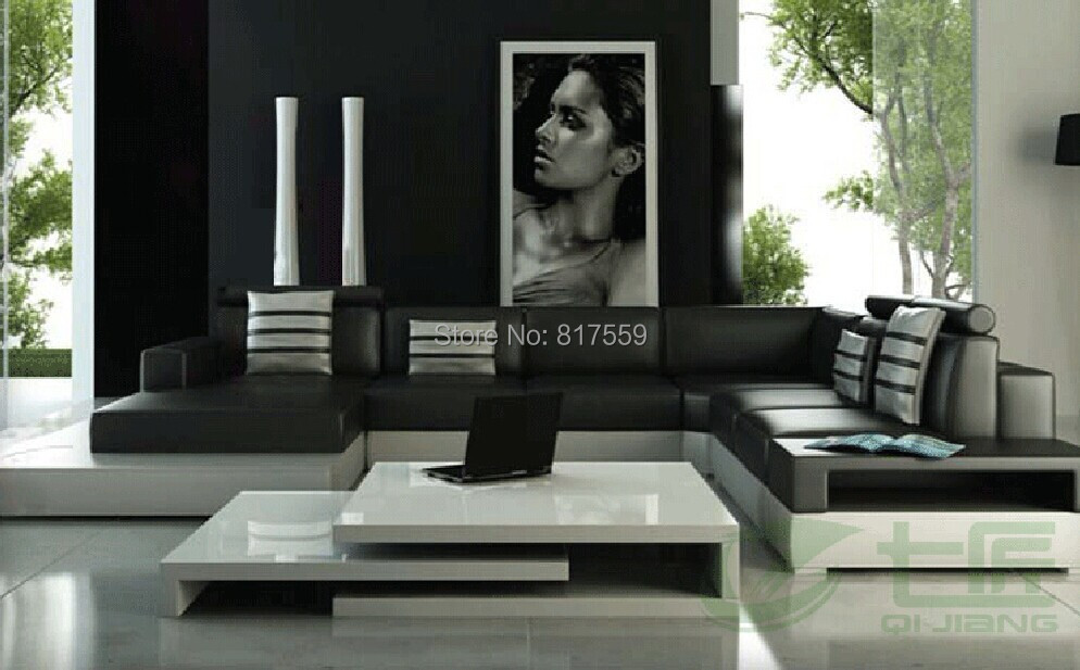 living room leather sofa with black color(China (Mainland))