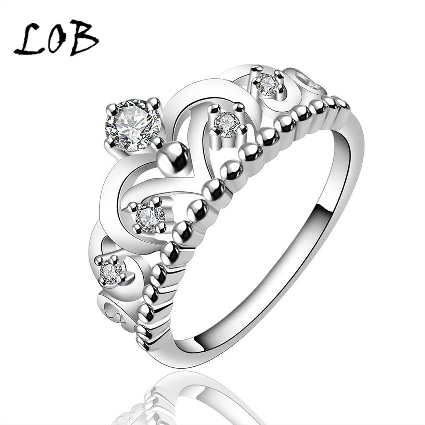 Queen's Crown Zircon Silver Plated Jewelry Ring For Women Silver Rings For Wedding Party Size 7/8 Wholesale R601(China (Mainland))