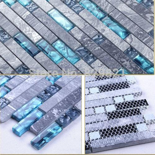 Гаджет  basin faucet -led -glass Blue Shell Glass Mixed Grey Stone Mosaic Tiles for Kitchen Bathroom Shower TV Backsplash Home Decor Lux None Строительство и Недвижимость