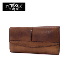 2016 full handmade genuine leather magnetic buckle large capacity vintage casual day clutch wallet