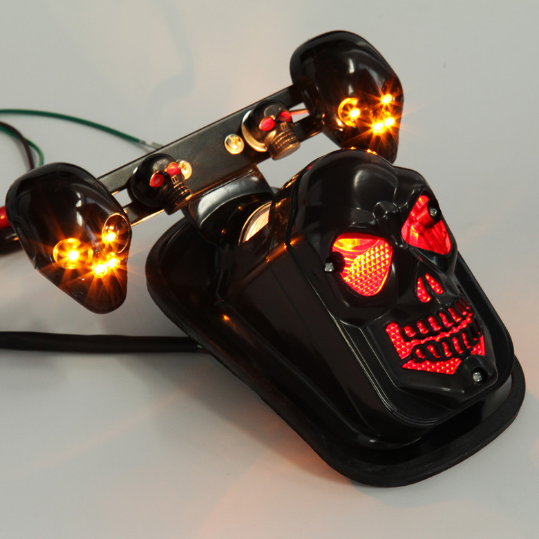Motorcycle accessories Harley cruise prince car tail lights with turn signal a modified skulls restoring ancient ways<br><br>Aliexpress