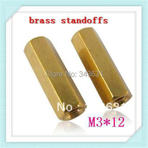 freeing shipping Brass Standoff Spacer M3 Female x M3 Female 12mm (500pcs/lot)<br><br>Aliexpress