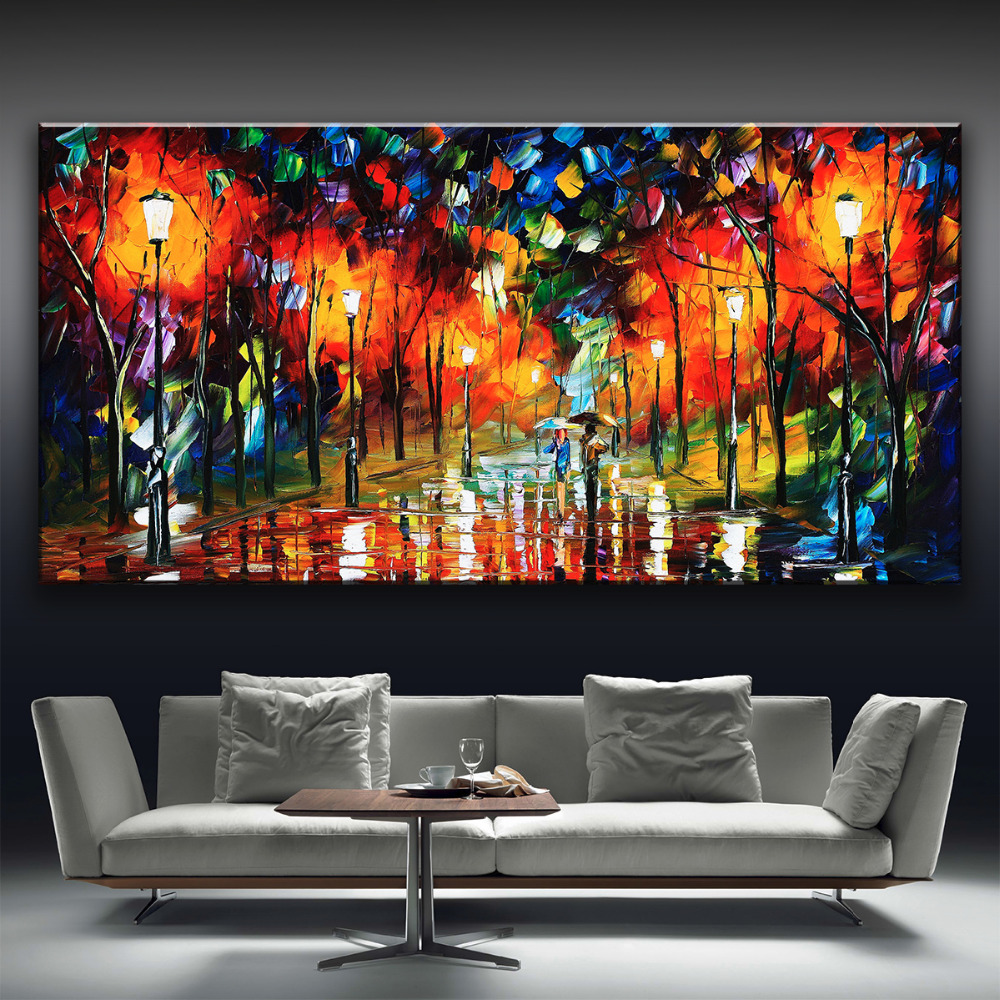 2016 leonid afremov walking lovers trees multicolor printed on canvas Oil Painting Home Decor wall picture for living room(China (Mainland))