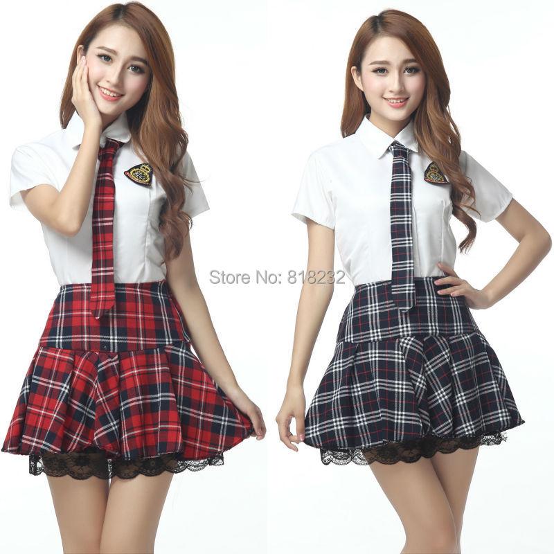 Girls Sexy High School Sailor Suit Uniform Tops+Skirt Daily/Cosplay Costume S-XXLОдежда и ак�е��уары<br><br><br>Aliexpress
