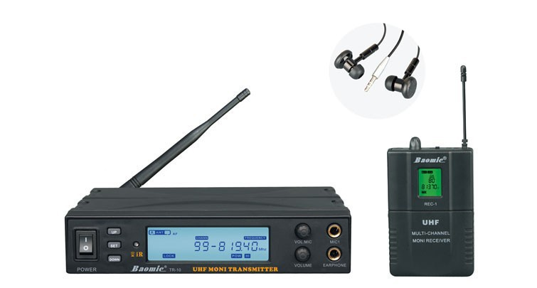 NEW BAOMIC TR-10 UHF Wireless Monitor System Stereo In-Ear Wireless Headphones & Headset Transmitter&Receiver Set(China (Mainland))