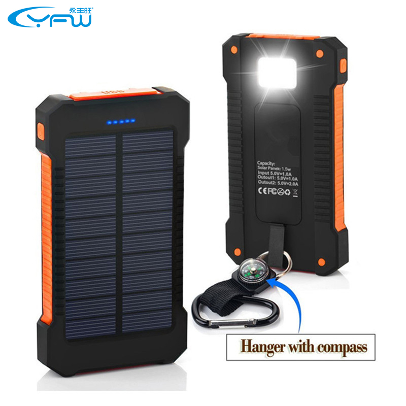 YFW Solar Charger 10000mAh Power Bank Waterproof External Battery Dual USB with LED Flashlight with Compass for Mobile Phone(China (Mainland))