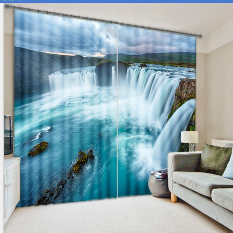 Фотография Waterfall 3D Photo Printing Blackout Curtains For  Kids Boys Girls Bedding room Living room Drapes Cortinas para sala
