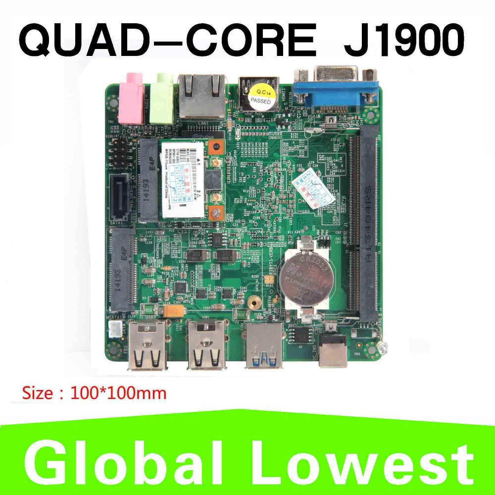 Promotion!!! J1900 Intel processor designed for ultra-thin laptops motherboard business mini pc quad-core with fan mainboard(China (Mainland))