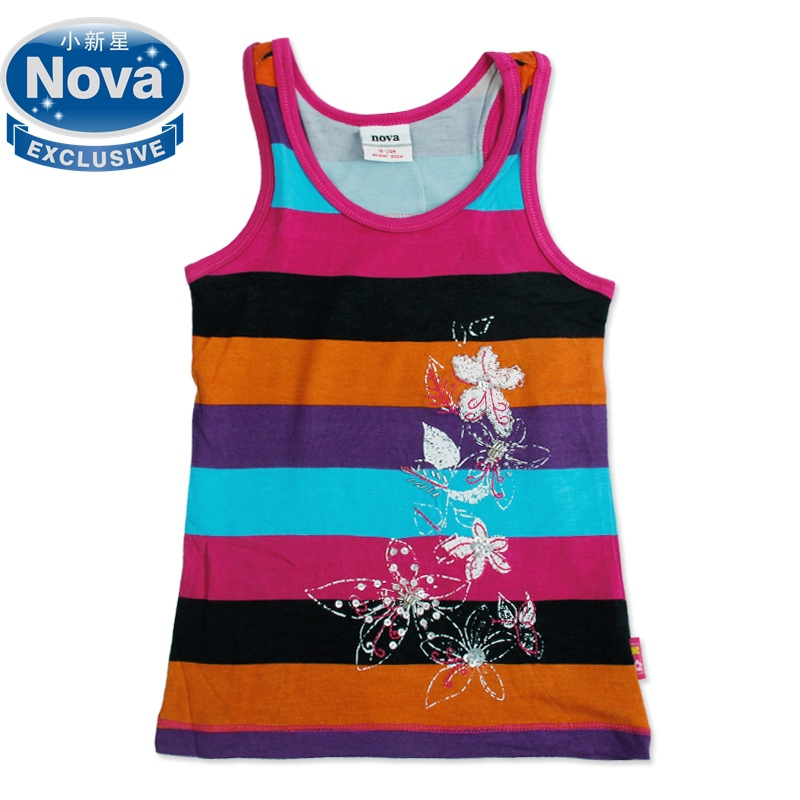 Nova brand Girl sleeveless t shirt children cotton flowers summer Stripe t shirt kids embroidery clothing N2075(China (Mainland))