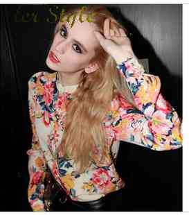 Free Shipping womens sexy floral chiffon shirts girls slim fit long sleeve printed shirt code 1426044373(China (Mainland))