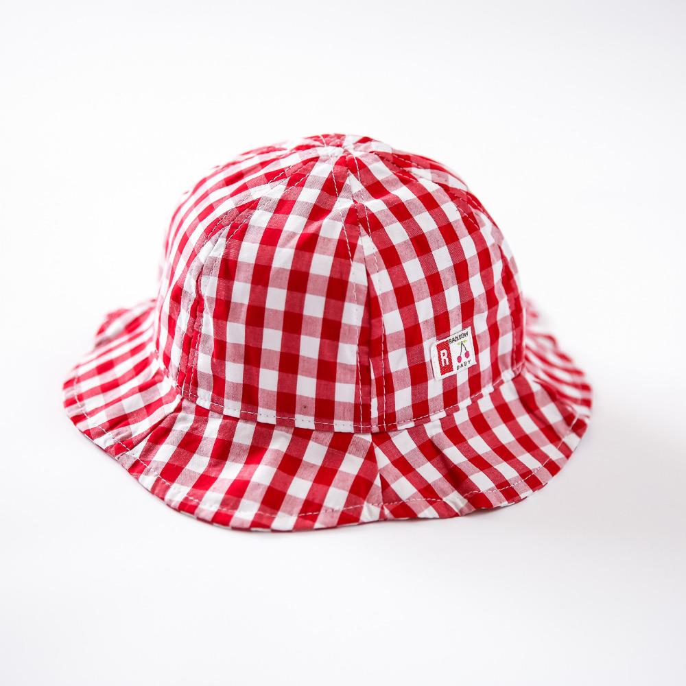 2016 New Baby Bucket Hat Casual Plaid Kids Summer Hats Houndstooth Print Sun Cap for Girls Cartoon Canvas Visor Children's Cap(China (Mainland))