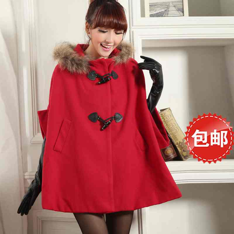 Free Shipping spring fashion fur collar warm coat hooded wool Cape coat woolen cloth coat 201512587131(China (Mainland))