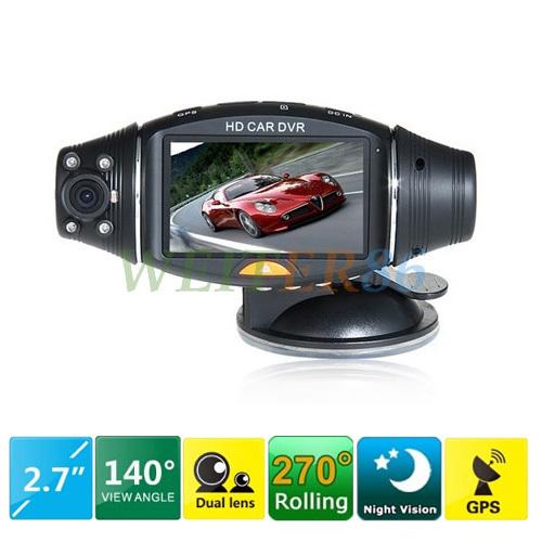 "R310 2 Camera Car DVR with GPS Box G-sensor 2.7"" TFT LCD Screen Dual Lens Car DVR Camera Recorder Free Shipping(China (Mainland))"