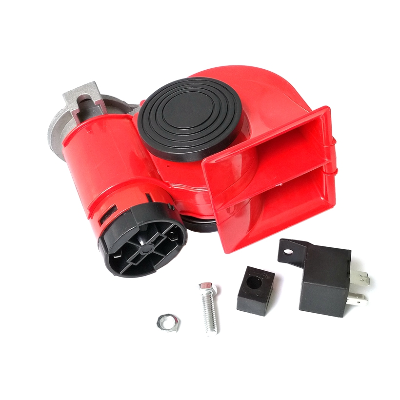 Electric Pump Vehicle Air Loud Horn Car Motorcycle Truck 12V Red Compact Dual Tone Siren(China (Mainland))