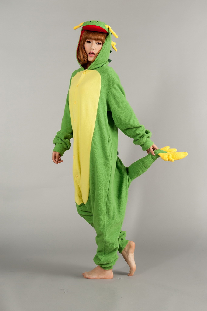 Vestido Green Dragon onesies Animal Cosplay pajamas Sleepwear For Women pyjamas Costumes one Piece Sleepsuit romper Unisex(China (Mainland))