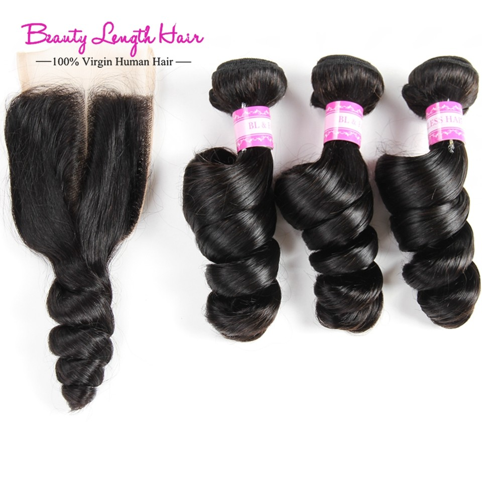 Loose Wave with Closure 3Bundles Brazilian Virgin Hair with Closure Grace Hair Products Mink Brazilian Human Hair with Closure