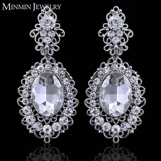 2015 новый урожай большой камень женщины ювелирный кристалл посеребренная brincos свадебные аксессуары серьги для женщин EH244