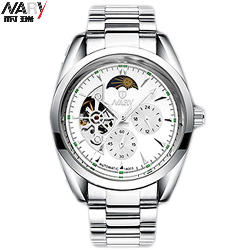 NARY Fashion Men Watches Stylish Night Light Display Design Classic Mechanical Self Wind Dress Skeleton Wrist Watch Gift Male(China (Mainland))
