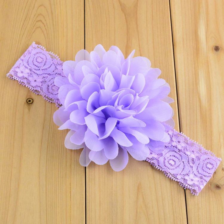 Baby Accessories Fashion Floral Baby Girl Lace Headbands 16Color Infant Baby Headbands Baby Head Wraps Chiffon Girls Hair Clips(China (Mainland))