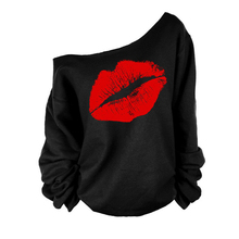 New Fashion Spring Sweater Coat Red&White Big Lips Sexy Oblique Pattern For Women