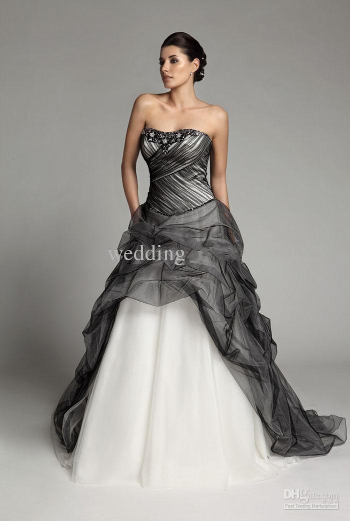 Aliexpress.com Comprar 2015 vestidos novia góticos gris blanco rebordear novia sin tirantes sin mangas tribunal tren vestido de boda del Organza del corsé
