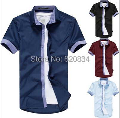 2014 Men's Shirts Short Sleeve Casual Men Grey Spring Summer Fashion Slim 6 Color Hot - Fashion-Show store