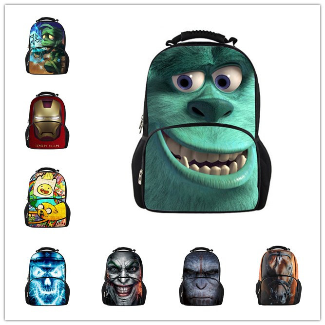 Fashion Children School Bags Monsters University Maori iron Man 3D Animals School Bag Hot Students LOL Book Bag Cartoon Backpack(China (Mainland))