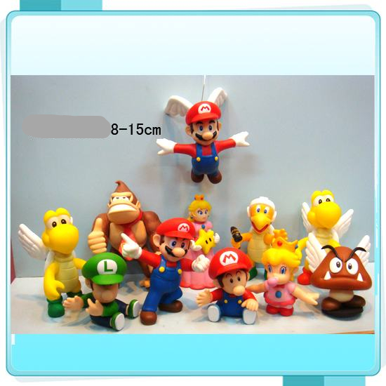 11PCS/set 8-15cm Super Mario Bros yoshi dinosaur Figure PVC action figure Model collection toy Gift for kid with Box #D
