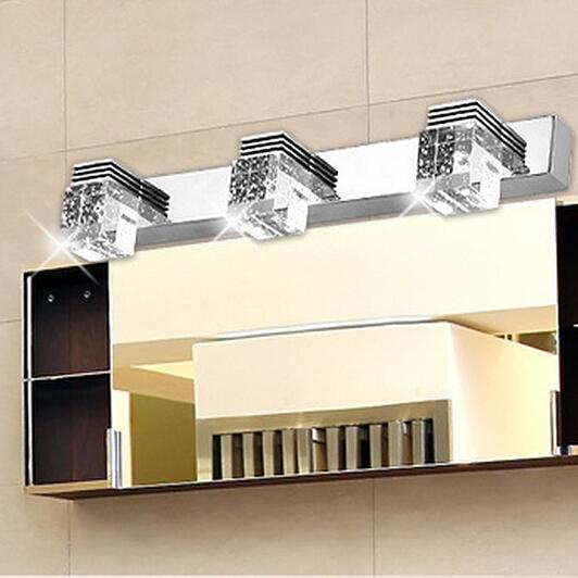 Three stainless steel 9W led crystal wall lamp bathroom mirror cabinet bathroom wall lamp light makeup Led light(China (Mainland))