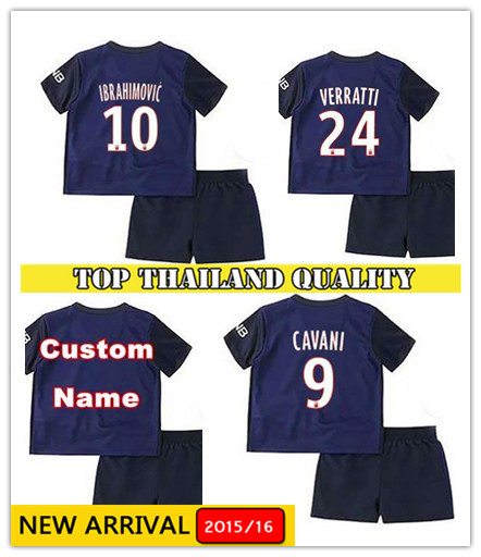 2015 2016 Paris maillot de foot home blue away soccer Jerseys 15 16 kids kits camisas de futebol sets survetement football shirt(China (Mainland))
