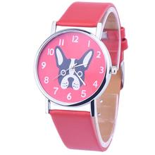 Newly Design Cute Dog Cartoon Watch Fashion Leather Band Quartz Wrist Watches Best Gift 160224