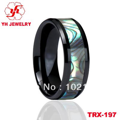 Здесь можно купить  Wholesale $9 Band Ring Stylish Genuine Ceramic Wedding Band Ring with Natural Sea Shell in a Gift Box (Size Selectable)  Ювелирные изделия и часы