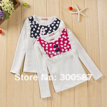 2015 children girls lace bowknot heart split joint long sleeve princess Primer t-shirt dress SZ67
