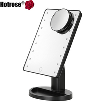 LED Touch Screen Makeup Mirror Professional Vanity Mirror With 16 LED Lights Adjustable Countertop 180 Rotating Free Magnifier(China (Mainland))