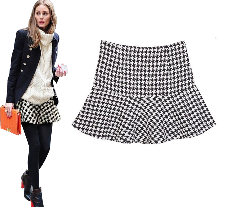 2015 New Fashion Women Spring Autumn and Winter OL Geometric Pattern Chiffon Ruffles Short Skirts ladies Ball Gown Skirt(China (Mainland))
