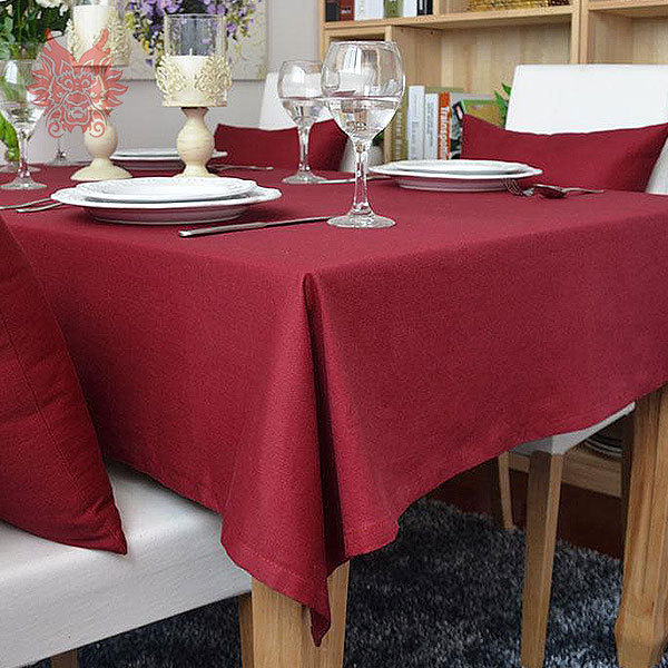 Hot sale Modern style dark red Table Cloth 100%cotton table cover for Dining, Kitchen Home Textile SP1119(China (Mainland))
