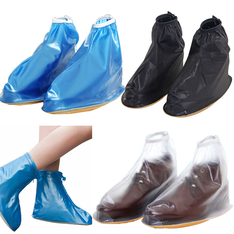 New Men Women Rain Waterproof Flat Ankle Boots Cover Thicker Non-slip Platform Rain Heels Shoes Covers BS88(China (Mainland))