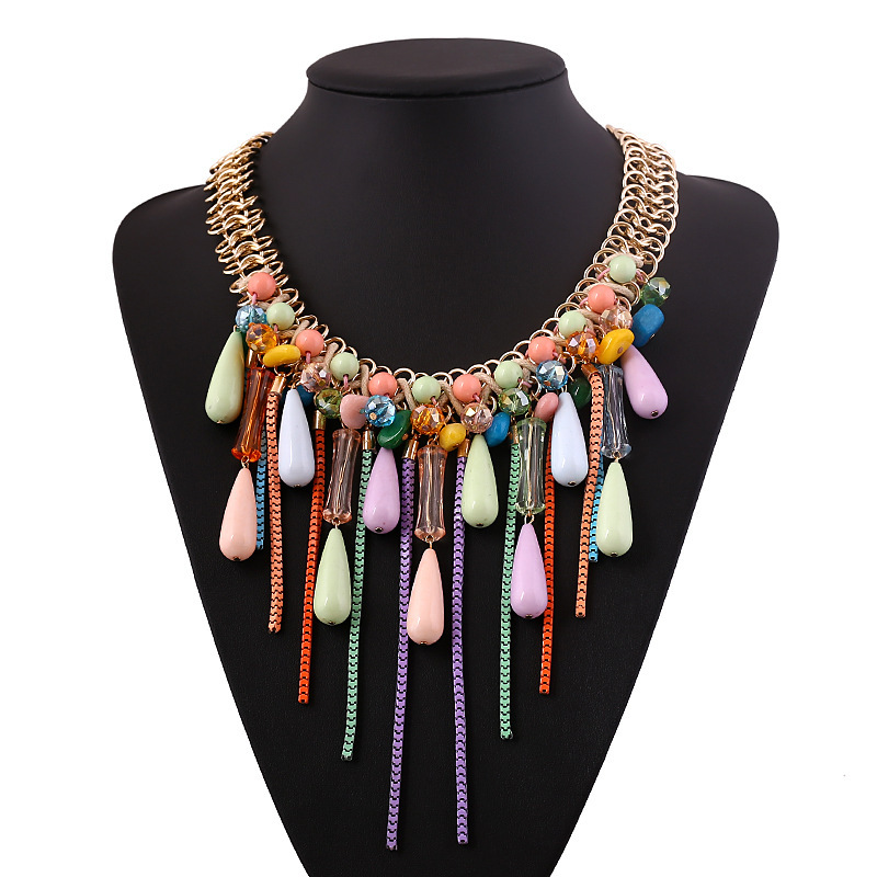 New Brand Fashion Women Necklace Multi Layer Necklaces Gold Chain Rhinestone Choker Chunky Statement Necklace Accesories(China (Mainland))