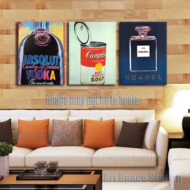 product Andy Warhol absolut vodka pop art poster 3 piece Gallery Wrapped wall art painting pictures print on canvas for living room