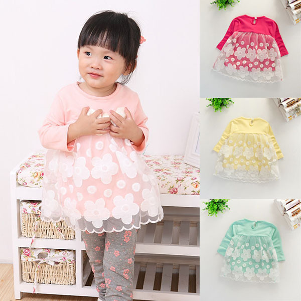 Kid Girl Toddlers Floral Shirt Dress Long Sleeve Lace Tulle Tops Clothing 1-4Y(China (Mainland))