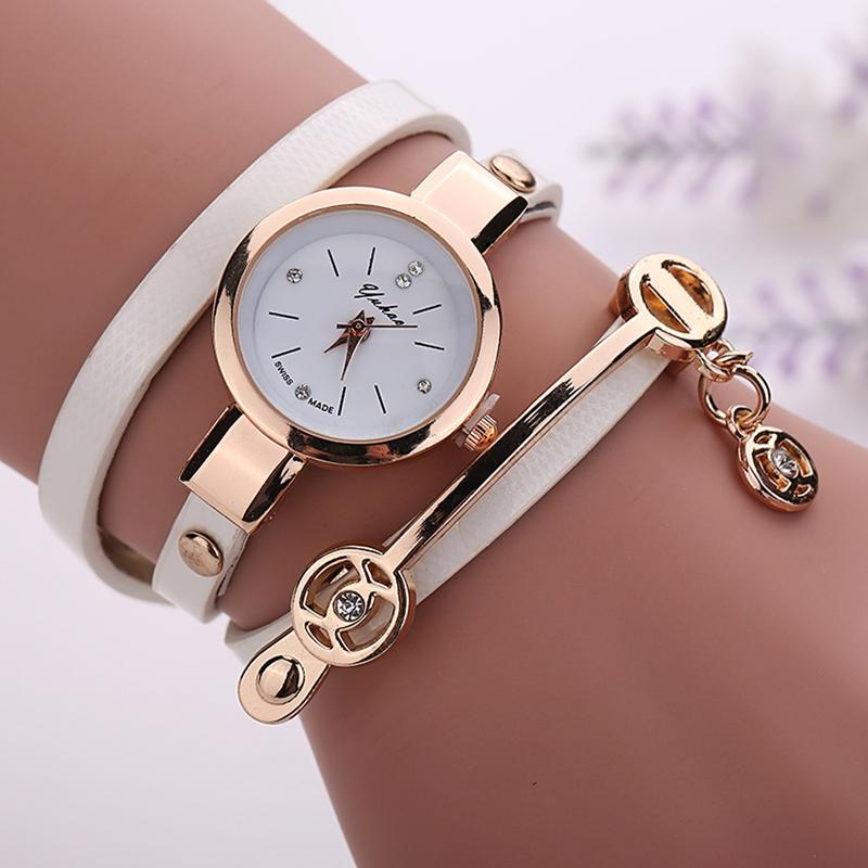 leather bracelet gold quartz for