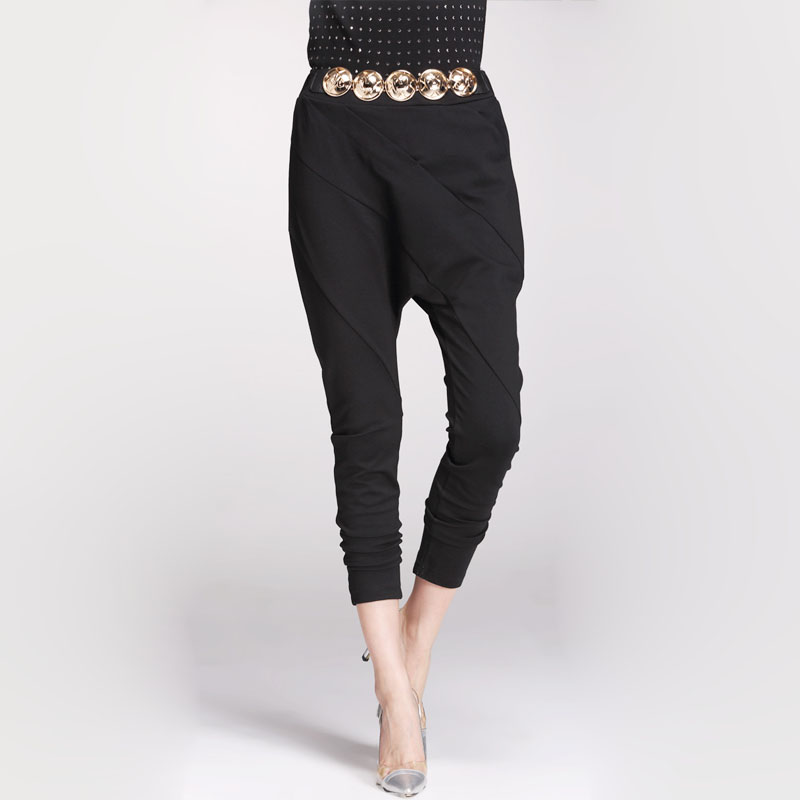 European Female Elastic Waist Pleated harem pants women Capris Trousers MG8550(China (Mainland))